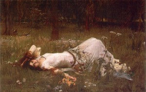 Ophelia Lying in Wildflowers