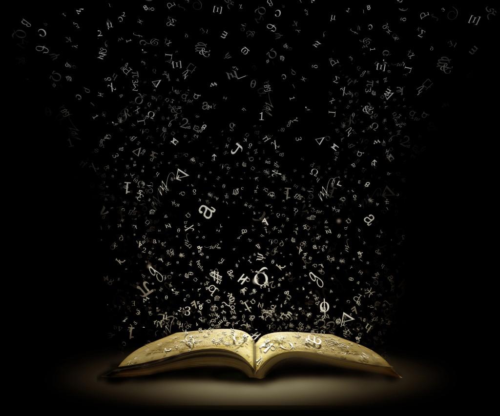 book-letters-flying-dark-backround